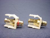 Leviton RCA Jacks, Gold Plated, White, 2 Pack. CA-131-40830-000 UPC: 078477962336. 40830-BWR