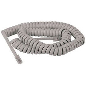 Artistic 25 Foot Coiled Handset Telephone Cord. Model: 21016. New in retail package. 25 FT (7.6m) coiled handset telephone cord. Almond color. UPC: 030615210167.