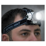 7 LED high intensity, This headlamp projects a beam that floods the area in front of you with super-bright light. It has adjustable straps and a well balanced design too. Unit is water resistant and requires 3 'AAA' batteries.