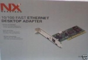 Nexxtech 10/100 Fast Ethernet NIC Card. New in Retail package. UPC 790069295249. Model NPCINIC.