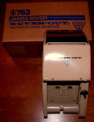 James River Towlsaver Never Out Toilet Paper Dispenser. Lockable with key. New. For use with Never-Out toilet paper. Double roll. Beige with stainless steel top. RJ 763, RJ763.