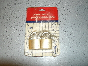 New in retail package. 20MM 2PC brass padlocks with keys. UPC: 715278250155 Wolfdog locks. Wolf Dog locks.