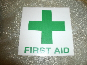 "First Aid Sign. Vinyl Sticker. New. First Aid Sign. Vinyl Sticker. New. 4"" X 4"". Green Letters. Laminated. Green Letters and Cross with a White Background."