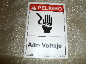 "Peligro Alto Voltaje Sign. Spanish. Vinyl Laminated Sticker. New. 3 1/2"" W X 5"" H. Danger High Voltage."