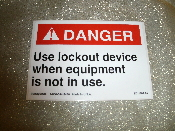 "DANGER Use Lockout Device When Equipment Is Not In Use. New. 3 1/2"" H X 5"" W. Vinyl Laminated Sticker. ZD1116AA4."