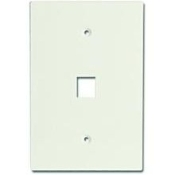 "Channel Vision J-1GOLA 1 jack wall plate. Light Almond. 3 1/2"" wide x 5 1/8"" oversized plates. Accepts standard modular inserts. Matching color screw heads. 1 port/jack. These plates can be used to cover bad sheet rock hole cuts. UPC: 690240021394"
