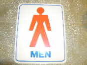 "Men's Bathroom Plastic Sign. Self Stick. New. 6"" W X 7 1/2"" H. White Background, Red Man, Blue Lettering. Rounded Corners."