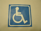 Handicap Sticker. Disabled Sticker. Blue and White. New. HTO-1052.