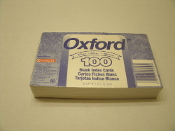 "Esselte Oxford 100 White Blank Index cards. UPC: 078787401501. 3"" X 5"" 7.6 X 12.7cm."