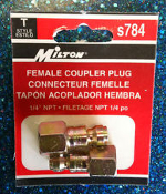 "Milton s784 Female Coupler Plug. New Retail Package. 1/4"" NPT. 030937400314."