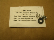 Milton No. 701 Coupler Repair Kit. New. One 768 Coupler Washer. One 700-5 Coupler Pin, One 700-6 Coupler Cone Spring. 030937302175.