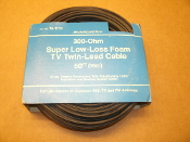 Archer 15-1174 300-Ohm Super Low-Loss Foam TV Twin -Lead Cable. New. 20 Gauge Copper Conductors with Polyethylene Foam Insulattion and Weather Sealed Jacket.