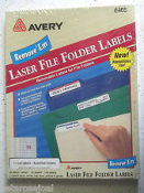 Avery 6466 Assorted Removable File Folder Labels. 1/3 Cut Labels. Laser. 30 Labels/Sheet. 25 Sheets. 750 Labels. 5 Sheets Each: White, Red, Blue, Yellow and Green. New. 072782064662.