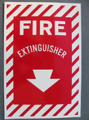 "Fire Extinguisher Vinyl Self Stick Sign. 8 3/4"" W X 11 3/4"" H. New."