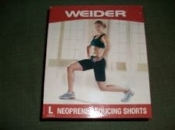 Weider 14907 Neoprene Reducing Shorts. WNSBLG08. Size: Large. New. Sweat off extra weight with these comfortable lightweight reducing shorts. Black. UPC: 074345606081.