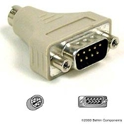 Belkin Mouse Adapter. F4A611. 6 Pin Mini Din Male to DB9 Male. 722868104743. New. Retail Package.