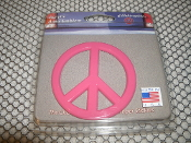 Automotive Peace Sign. Pink. New. 696675312359. Elektroplate Auto Emblem. Automotive grade acrylic. Paint-safe, Easy to Apply. Acrylic Auto Emblem.