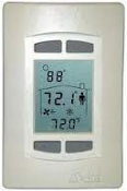 Delta DNT-T103 Thermostat. Refurbished. 577401. The DNT-T103 is an intelligent room thermostat with a custom 3-value, 96 segment, LCD display. The DNT-T103 can communicate directly on a BACnet MS/TP network. Digital. Ivory.