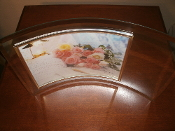 "Curved Bezelled Glass Photo Frame with gold trim. New. 15 1/2"" Wide by 10 1/2"" Height."