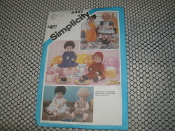 "Simplicity 6481 Small Doll Fabric Pattern. New. Size: 13""-14"". Manufactured By: Effanbee Doll Corporation. 12 Pieces. 1984."