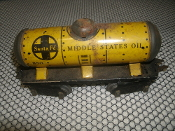 Marx Mar Toys Santa Fe Tanker Car 553 Train. Middle States Oil. Used. Pre-War. O Gauge. Yellow.