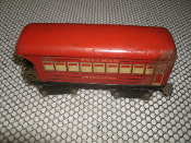 "Marx Pullman Railroad Observation Car Antique Tin Toy Model Train. Used. 8 Wheels. MAR Toys. 6"". 19196."