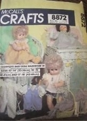 "McCall's Crafts 8872 Baby Doll Wardrobe. New. 3 Sizes. 13""-14"". (33-36cm) 15""-16"". 02379500375."