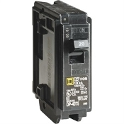 Square D 1 single-pole circuit breaker. HOM120CP. features a 10,000 AIR and 120/240 VAC. 047569062711. The breaker uses a thermal-magnetic tripping mechanism.