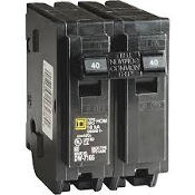 Square D 40 AMP Circuit Breaker. Refurbished. HOM240CP. Double Pole. Common Trip. 2 Poles. 047569062780. Rated for 120/240 VAC and 10,000 AIR. Thermal-magnetic tripping mechanism.