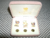 1988 Seoul Summer Olympic Pins, 3 Pin Set. New. The case is dirty from years of dust.