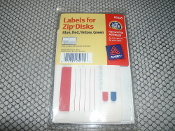 Labels for Zip Disks. New in retail package. 64 disk labels and 64 spine labels. Blue, Red, Yellow and Green. 2 disk and 2 spine labels/sheets +32 sheets. Removable Adhesive. Part: 05225. UPC: 072782052256.