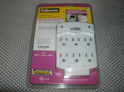 Fellowes 99008 Surge Protector. 6 Outlet Surge Protector with Fax and Phone. 077511990083. New. 715 Joules. Lighting Protection.