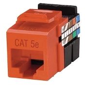 Leviton Multi-Use CAT 5e Jack. Model: R09-5G108-OR. New in Retail Package. Orange color. Installation Tool. 8 Position, 8 Conductor. Quickport Snap-in Design.