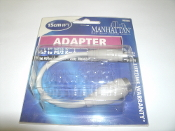 "Manhatton AT to PS/2 Keyboard Adapter. Mini DIN6 Male to DINS Female. New in retail package. 6"" (15cm). Manhattan Brand. Designed to connect a DIN5 AT keyboard to a PS/2 connector. 766623362566. 362566."