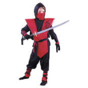 Ninja Lord Halloween Costume. 1 023168187352. #388490. Red and Black. Wal-Mart. Size: 7-8. 2 Wrist and ankle guards. Wrist ties. 1 hooded shirt, pants, mask and tunic.