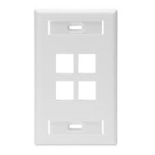 Leviton 4 Port Wallplate. White. Part NO: 42080-4WS. UPC: 078477978290. Quickport single gang with ID. Wall plate 4 Port. White. PK-99250-10-028A.