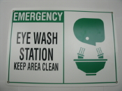 """Emergency Eye Wash Station Keep Area Clean"" Sign. New. Green Black and White. Rounded edges. 4 screw holes. Plastic. 14"" Wide, 10"" Height."