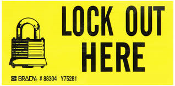 "Brady # 88304, Y75281 Lock Out Here Stickers. New. 10 Stickers Per Order. 4 1/2"" L X 2 1/4"". 754473883041"