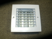 "Hart & Cooley 082202 White Ceiling or Sidewall Register. New. 7 7/8"" X 7 7/8"". 5 1/4"" X 5 1/4"" Hole."