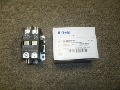 Eaton C25BNF240T Definite Purpose Contactor. New. 40A @ 600V. Res: 50 @ 600V. 00786685116174. Open Type. Coil 24VAC, 50/60Hz. Pole: 2. Style: F1C25BNF240T. Series: F1. L37-843. 160413. 4161CL. 30-45485.